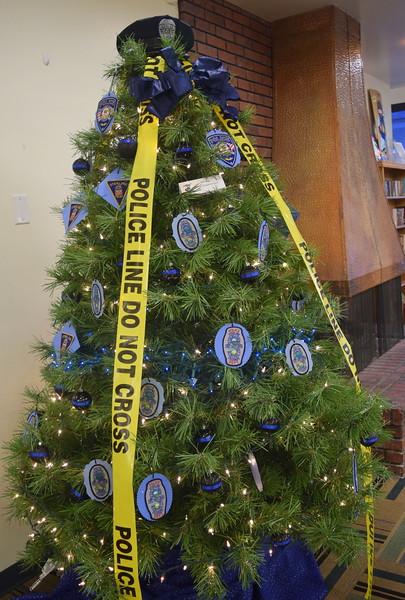 Sterling Police Department's tree at Sterling Public Library's 2017 Parade of Trees.