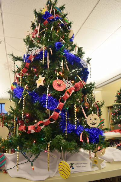 Centennial Mental Health Center's tree at Sterling Public Library's 2017 Parade of Trees.