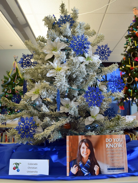 . Colorado Christian University\'s tree at Sterling Public Library\'s 2017 Parade of Trees.