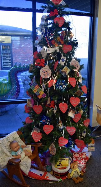Early Childhood Council of Logan, Phillips, Sedgwick Counties' tree at Sterling Public Library's 2017 Parade of Trees.