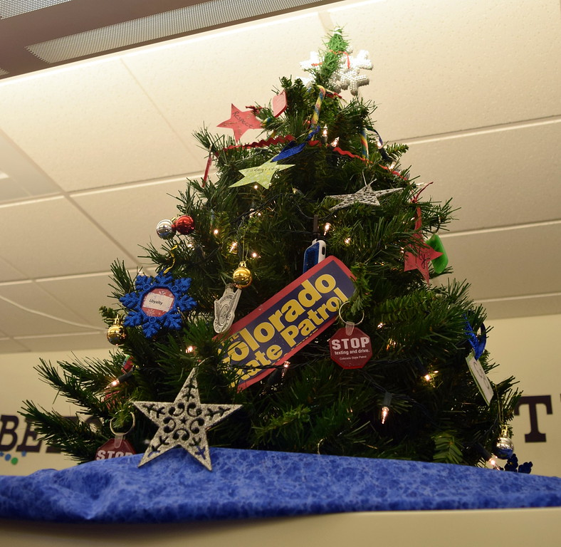 . Colorado State Patrol\'s tree at Sterling Public Library\'s 2017 Parade of Trees.