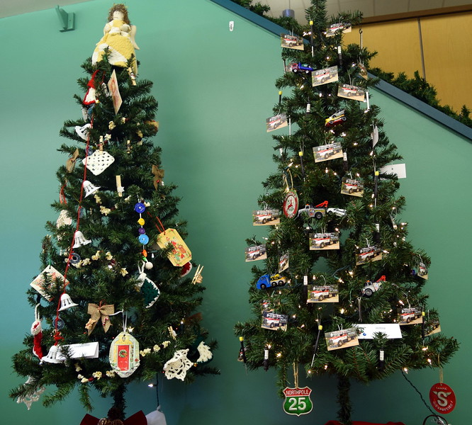 Linda Griess and Hilltop Garage's trees at Sterling Public Library's 2017 Parade of Trees.