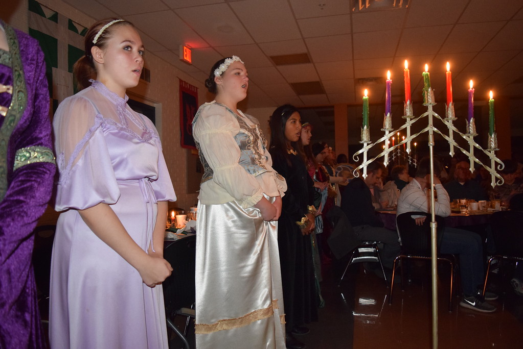 ". Sterling High School\'s Concert Choir performs ""We Wish You a Merry Christmas,\"" under the direction of Annette Lambrecht, at the school\'s 30th annual Madrigal Dinner Monday, Dec. 4, 2017."
