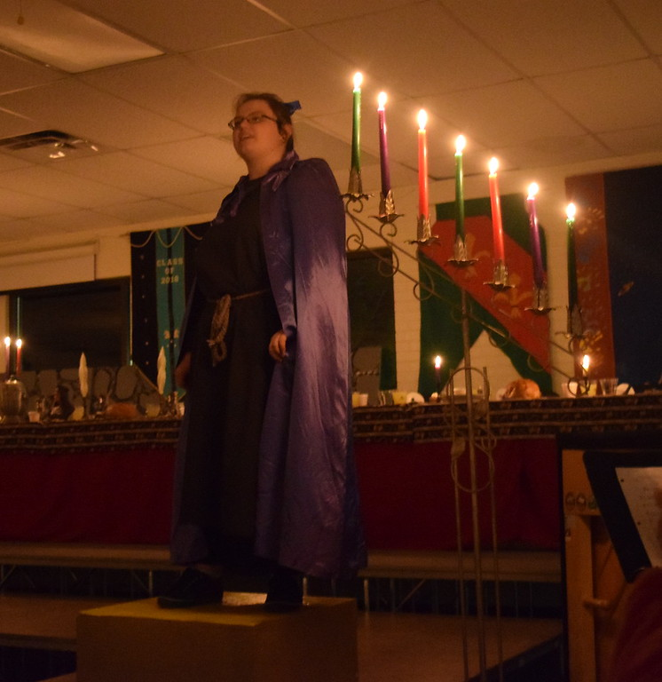 . The Town Crier (Kahylani Landridge) welcomes guests to Sterling High School\'s 30th annual Madrigal Dinner Monday, Dec. 4, 2017.
