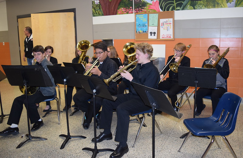 The Sterling High School Brass Ensemble, under the direction of Risa Lamorie, enterains guests as they wait to be seated Monday, Dec. 4, 2017, at the school's annual Madrigal Dinner. The ensemble included Bowen Brandt, Dylan Cranwell, Jaren May, Akayla Mahaffey, Kaven Thompson, Kahlei Fleckenstein, Brenden Ransdell, Andrea Hahn and Alex Norell.
