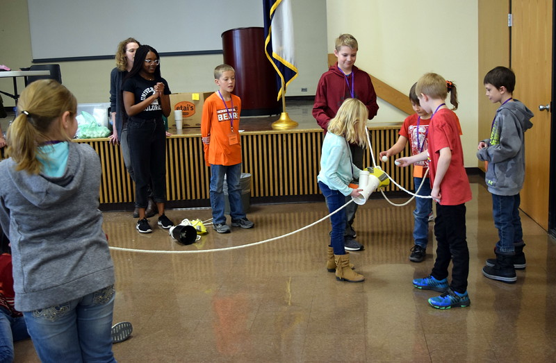 """Area elementary students get a hands on look at how action potentials and neurons work during an """"It's Electric"""" workshop at a Brain Awareness Day presented by the Intermountain Neuroimaging Consortium Friday, Feb. 8, 2019."""