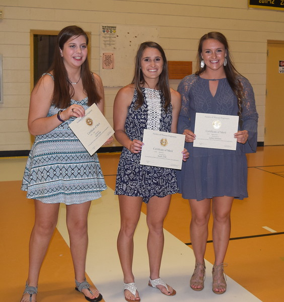 Pictured are the Society of Women Engineers award recipients recognized for excellence in math and science at Caliche High School's annual Awards Banquet Thursday, May 11, 2017. From left; Isabel Erker, honor; Kayla Zink, high honor; Sydney Sorensen.