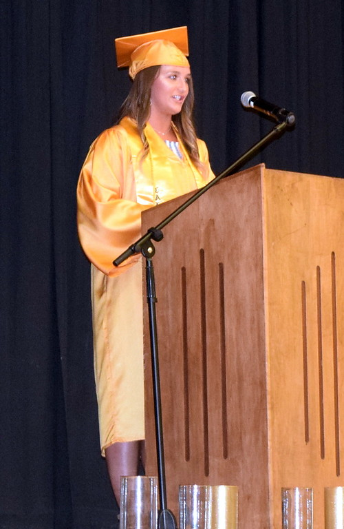 . Valedictorian Sydney Sorensen gives the farewell address at Caliche High School\'s commencement exercises Saturday, May 26, 2018.
