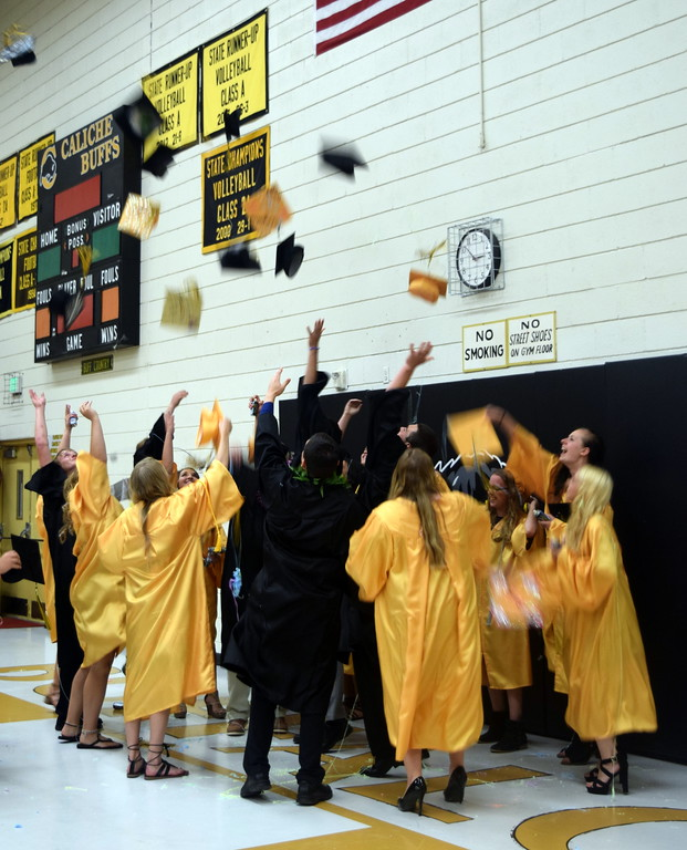 . The Caliche High School Class of 2018 celebrates at the conclusion of the commencement exercises Saturday, May 26, 2018.