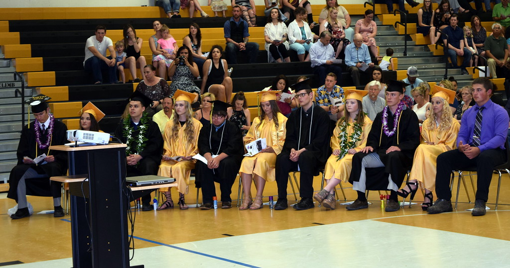 . Caliche High School graduates listen to a speaker during commencement exercises Saturday, May 26, 2018.