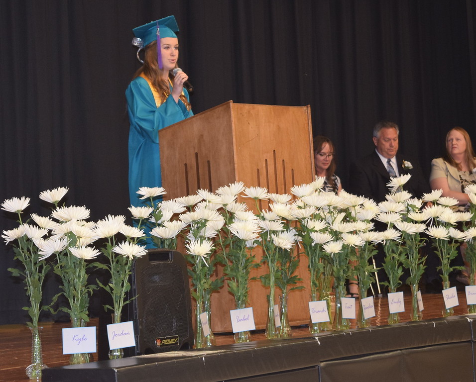 Valedictorian Jordan Nelson gives the welcome at Caliche High School's Commencement Exercises Saturday, May 28, 2016.