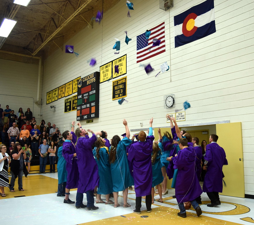 Graduates have one last celebration at the conclusion of Caliche High School's Continuation Exercises Saturday, May 28, 2016.