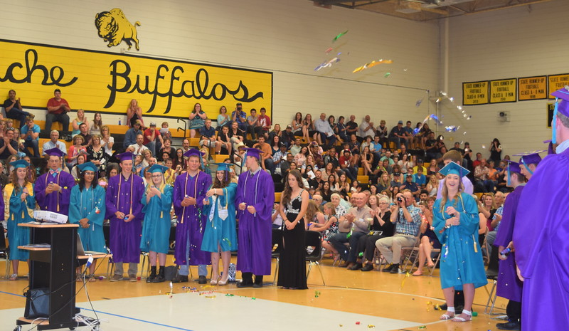 Graduates celebrate at the close of Caliche High School's Continuation Exercises Saturday, May 28, 2016.
