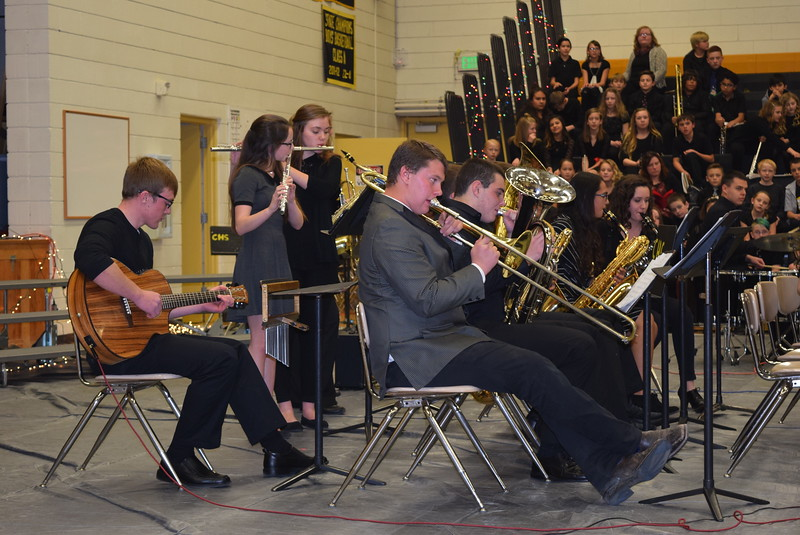 "Caliche High School band members perform ""Billie Jean,"" under the direction of Tyan Rosete, Tuesday, Dec. 5, 2017, at the school's Christmas celebration."
