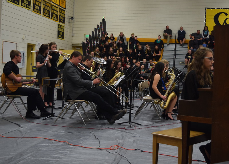 "The Caliche High School band performs ""All I Want For Christmas,"" under the direction of Ryan Rosete, Tuesday, Dec. 5, 2017, at the school's Christmas Celebration."