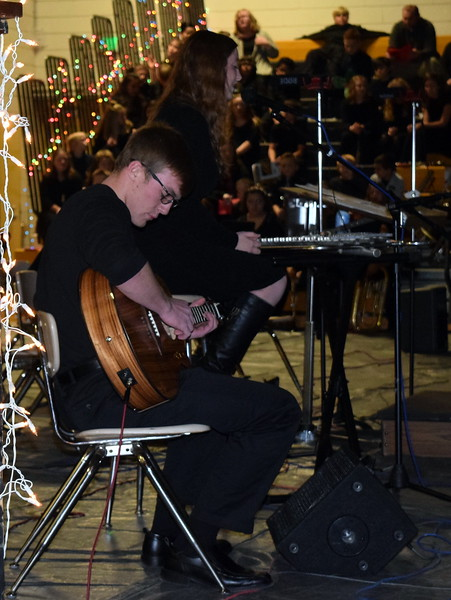 Caliche High School students Michael Foster and Rachel Fryrear perform a song Tuesday, Dec. 5, 2017, at the school's Christmas Celebration.