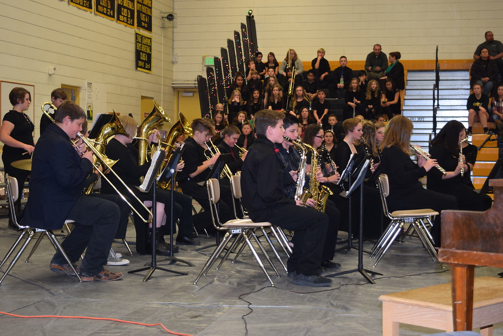 ". The Caliche Junior High band performs ""Carol of the Bells,\"" under the direction of Ryan Rosete, Tuesday, Dec. 5, 2017, at the school\'s Christmas Celebration."