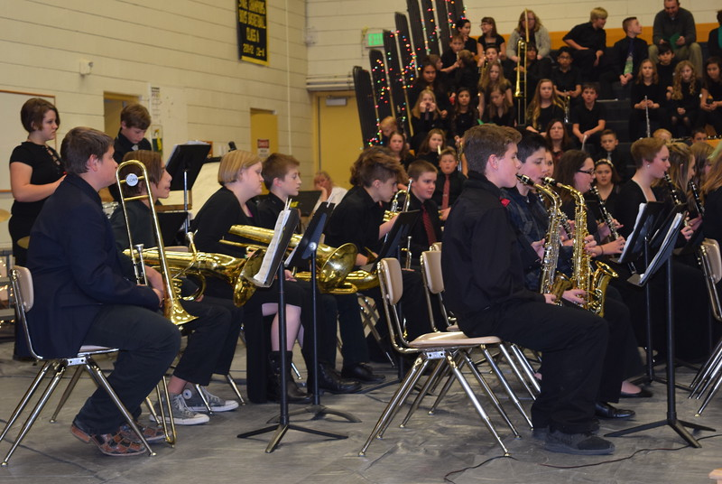 "The Caliche Junior High band performs ""Carol of the Bells,"" under the direction of Ryan Rosete, Tuesday, Dec. 5, 2017, at the school's Christmas Celebration."