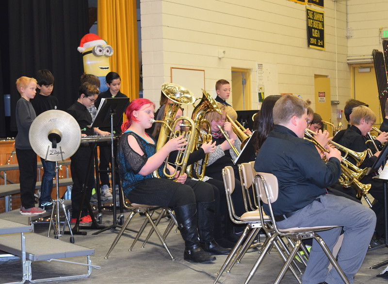 "Caliche Elementary School's fifth and sixth grade band performs ""Jingle Bells,"" under the direction of Ryan Rosete, Tuesday, Dec. 5, 2017, at the school's Christmas Celebration"