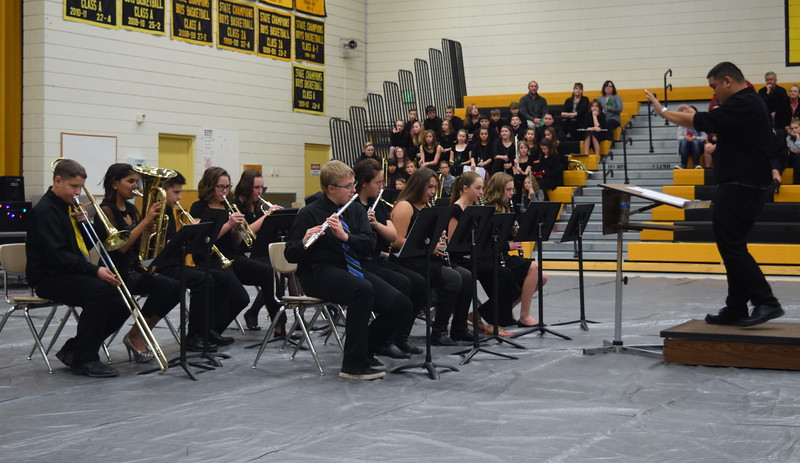 "The Caliche Junior High Band performs ""Hard Drive,"" under the direction of Ryan Rosete, during the school's Christmas Celebration, Monday, Dec. 5, 2016."