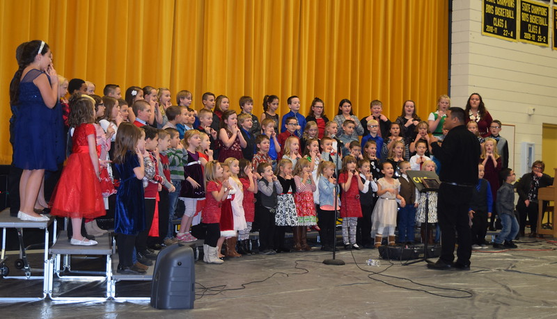 "Caliche Elementary kindergarten through fourth graders performed a number of holiday classics, including ""Rudolph The Red Nosed Reindeer,"" ""Santa Claus is Coming to Town,"" and ""Jingle Bell Rock,"" under the direction of Ryan Rosete, a the school's Christmas Celebration, Monday, Dec. 5, 2016."