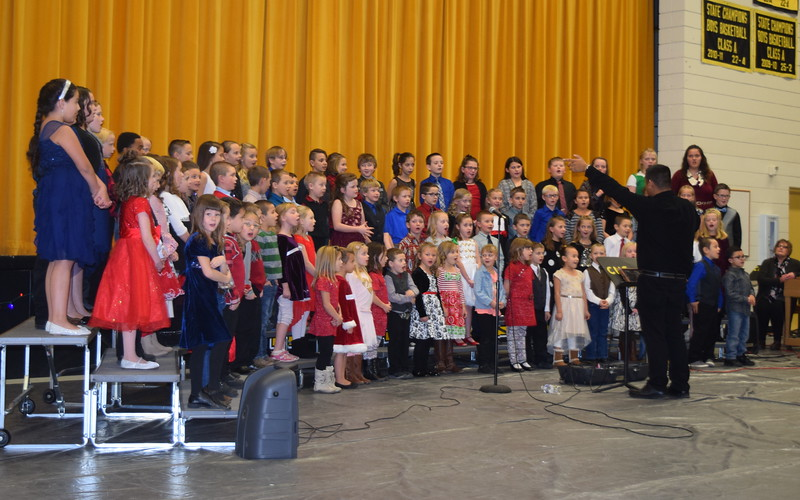 "Caliche Elementary kindergarten through fourth graders performed a number of holiday classics, including ""Rudolph The Red Nosed Reindeer,"" under the direction of Ryan Rosete, a the school's Christmas Celebration Monday, Dec. 5, 2016."