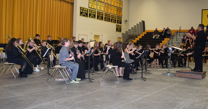 "Caliche Elementary fifth and sixth grade band performed  several holiday favorites, including ""Jingle Bells, ""Up on the House Top"" and ""Greensleeves,"" under the direction of Ryan Rosete, at the school's Christmas Celebration, Monday, Dec. 5, 2016."