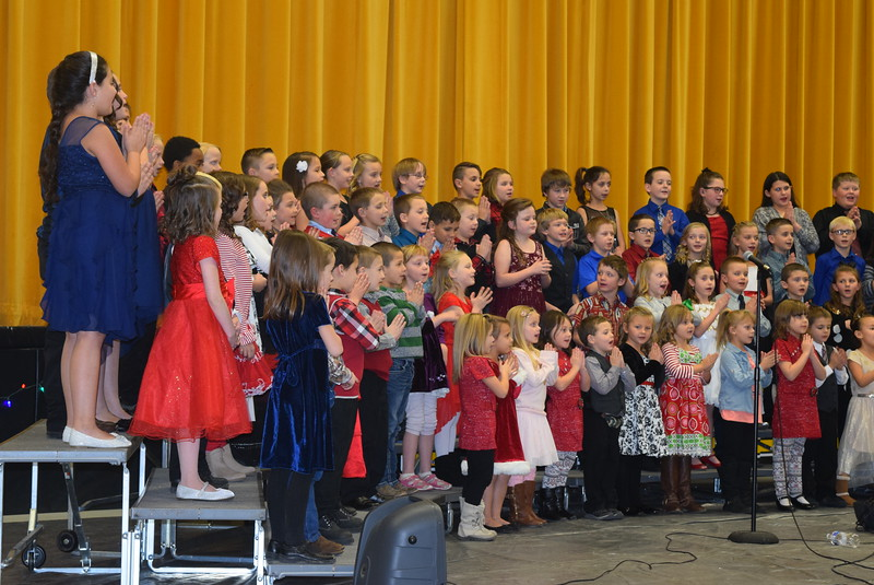 "Caliche Elementary kindergarten through fourth graders perform ""Rudolph The Red Nosed Reindeer,"" under the direction of Ryan Rosete, at the school's Christmas Celebration, Monday, Dec. 5, 2016."