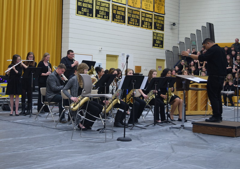 "The Caliche High School Band performs ""September,"" under the direction of Ryan Rosete, during the school's Christmas Celebration, Monday, Dec. 5, 2016."