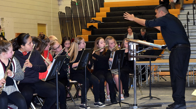 "The Caliche Elementary band performs ""The Distant Castle,"" under the direction of Ryan Rosete, at the school's Visual and Performing Arts Show Tuesday, Feb. 26, 2019."