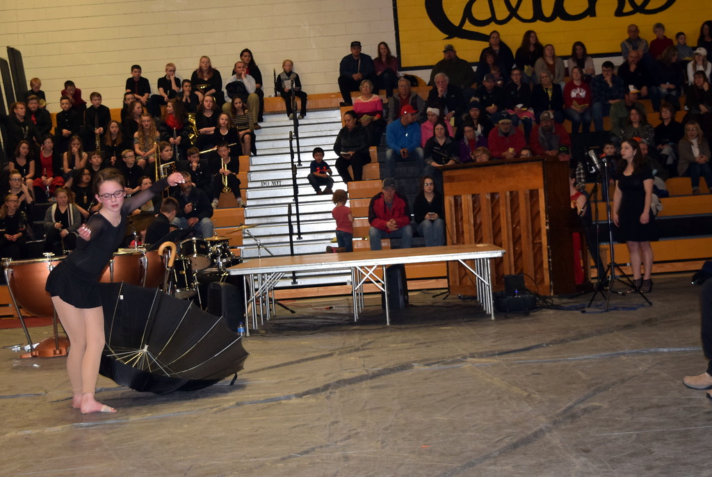 """. Vocalist Andrea Marick, pianist Rachel Fryrear, dancer Aly Young and drummer Reagan Skeels perform \""""I Don\'t Wanna Be You Anymore\"""" at Caliche School\'s Visual and Performing Arts Show Tuesday, Feb. 26, 2019."""