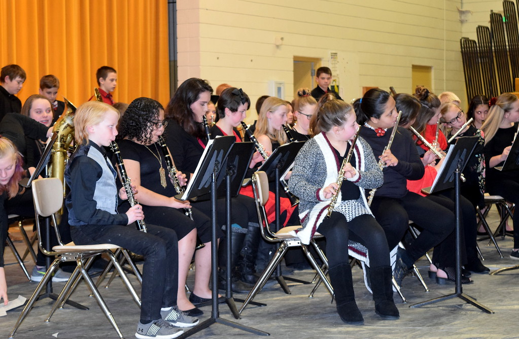 """. The Caliche Elementary band performs \""""The Distant Castle,\"""" under the direction of Ryan Rosete, at the school\'s Visual and Performing Arts Show Tuesday, Feb. 26, 2019."""