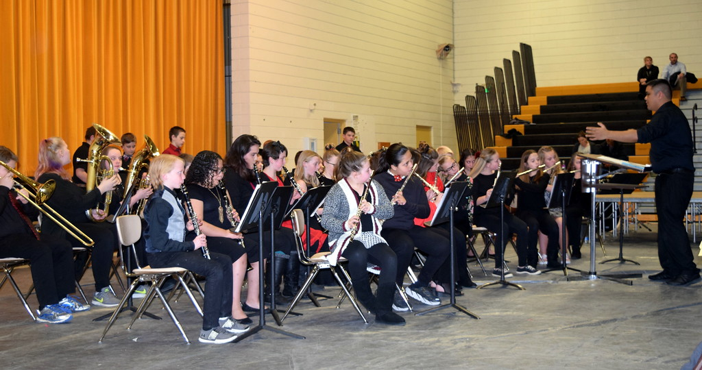 ". The Caliche Elementary band performs ""The Distant Castle,\"" under the direction of Ryan Rosete, at the school\'s Visual and Performing Arts Show Tuesday, Feb. 26, 2019."
