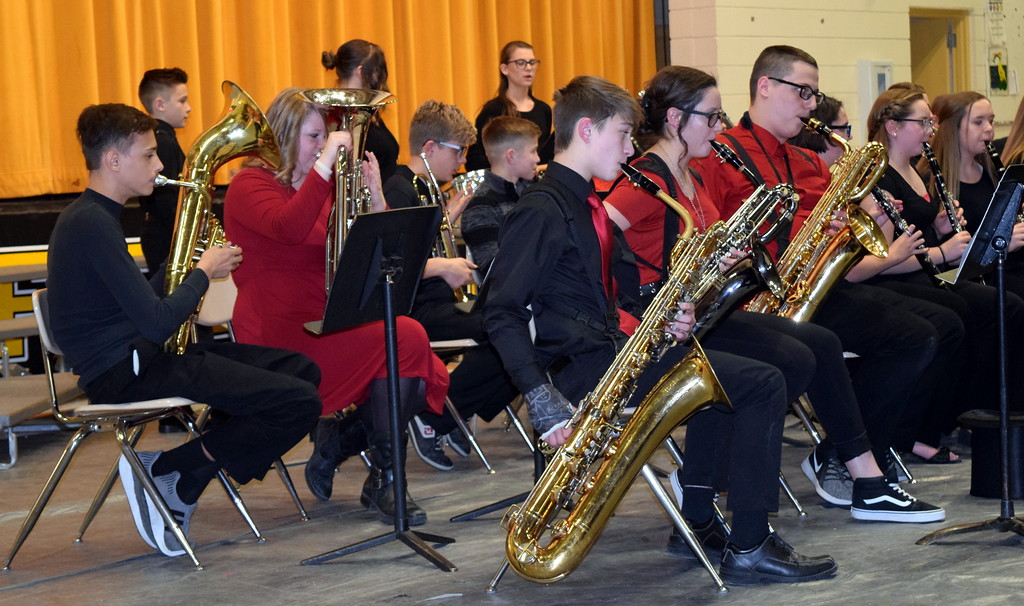 """. The Caliche Secondary Band performs \""""The Avengers,\"""" under the direction of Ryan Rosete, during the school\'s Visual and Performing Arts Show Tuesday, Feb. 26, 2019."""
