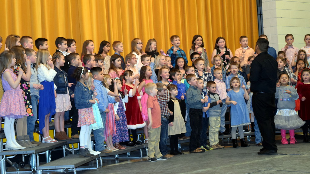 """. Caliche Elementary kindergarten through fourth graders perform \""""Try Everything,\"""" under the direction of Ryan Rosete, at the school\'s Visual and Performing Arts Show Tuesday, Feb. 26, 2019."""
