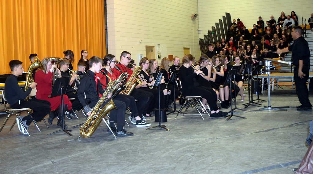 ". The Caliche Secondary Band performs ""The Avengers,\"" under the direction of Ryan Rosete, during the school\'s Visual and Performing Arts Show Tuesday, Feb. 26, 2019."