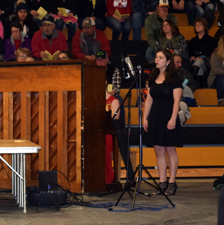 """. Vocalist and pianist Reagan Skeels and Rachel Fryrear perform \""""I Don\'t Wanna Be You Anymore\"""" at Caliche School\'s Visual and Performing Arts Show Tuesday, Feb. 26, 2019."""
