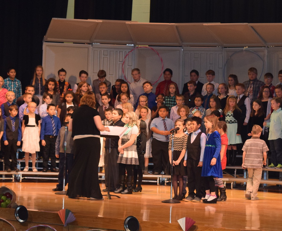 "Campbell Elementary third grade singers share some information about folk songs during their ""American Folk Songs"" program Tuesday, Nov. 29, 2016."