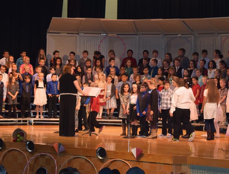 "Campbell Elementary third graders tell a joke during the school's ""American Folk Songs"" program Tuesday, Nov. 29, 2016."