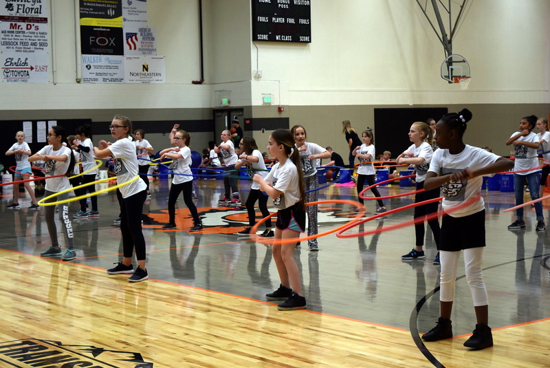 "Fifth graders show off their hula hoop skills to ""One Way or Another"" at Campbell Elementary's Music and P.E. Showcase Tuesday, March 6, 2018."