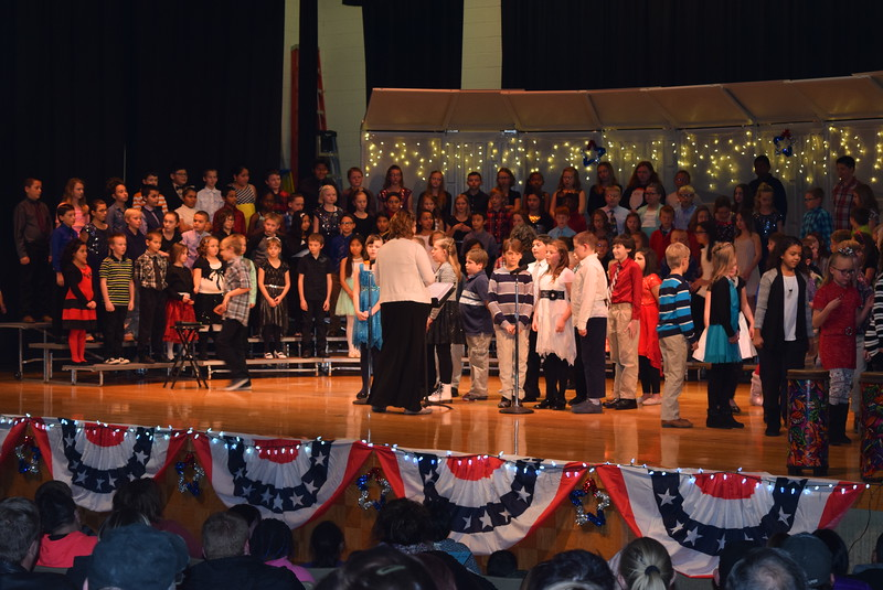"Fourth grade students give some historical information about Yankee Doodle during Campbell Elementary's ""Yanke Doodle's Dandy Christmas"" program, Thursday, Dec. 8, 2016."