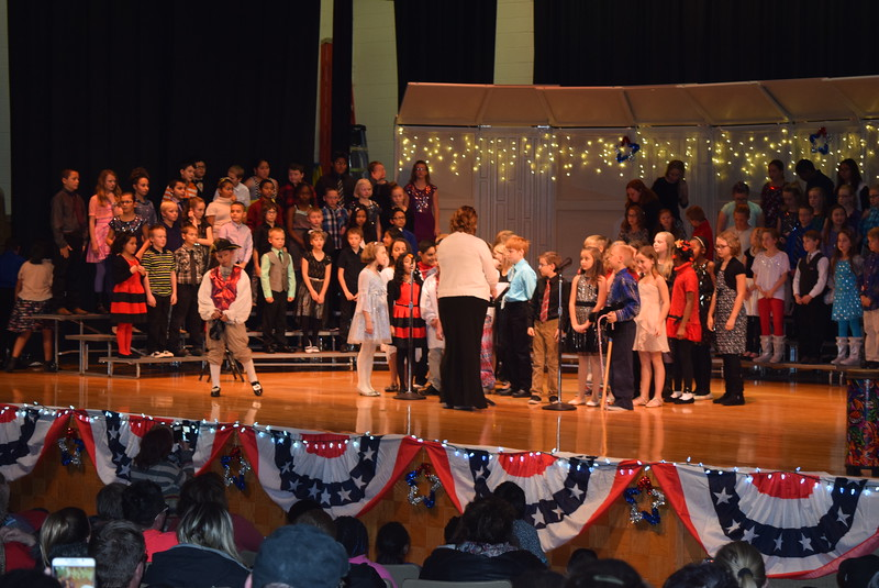 "Campbell Elementary fourth graders wish everyone a Merry Christmas at the school's ""Yankee Doodle's Dandy Christmas"" program, Thursday, Dec. 8, 2016."