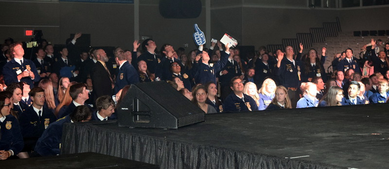 Students are excited to receive free stuff during a pre session at the Colorado FFA State Convention Wednesday, June 8, 2016.