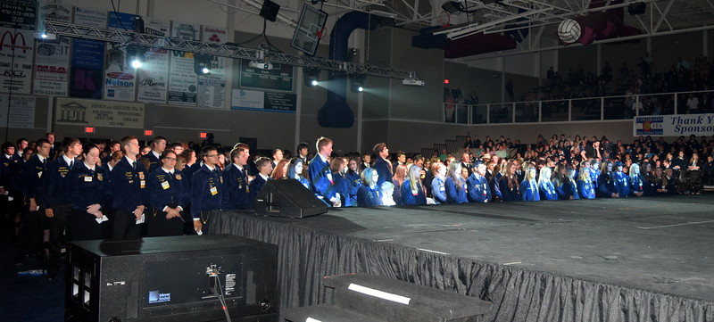 FFA members listen as state officers confer State FFA Degrees during during the fourth session of the Colorado FFA State Convention Wednesday June 8, 2016. Approximately 284 members received degrees.
