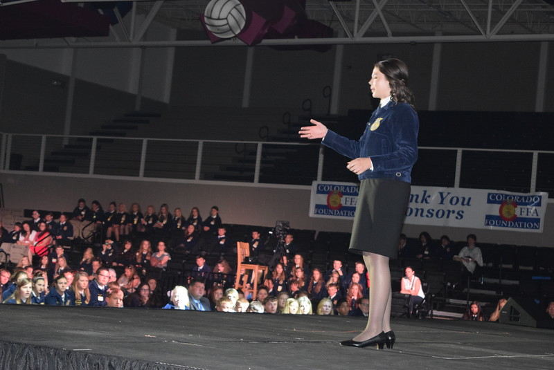 National FFA President Taylor McNeel talks to FFA members about delivering their message of agriculture during a keynote event at the Colorado FFA State Convention Wednesday, June 8, 2016.