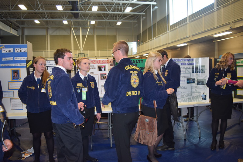 FFA members had a chance to talk with other members about their state winning Supervised Agricultural Experiences (SAEs) during an SAE Career Fair at the Colorado FFA State Convention Wednesday, June 8, 2016.