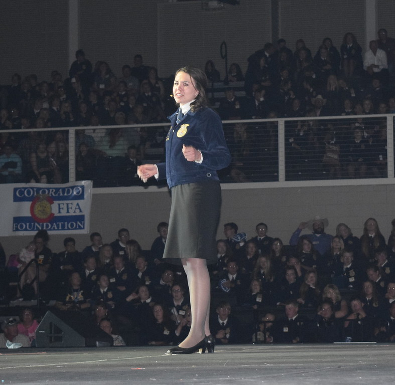 "National FFA President Taylor McNeel talks about ""Living Palms Up"" during the fouth session of the Colorado FFA State Convention Wednesday, June 8, 2016."
