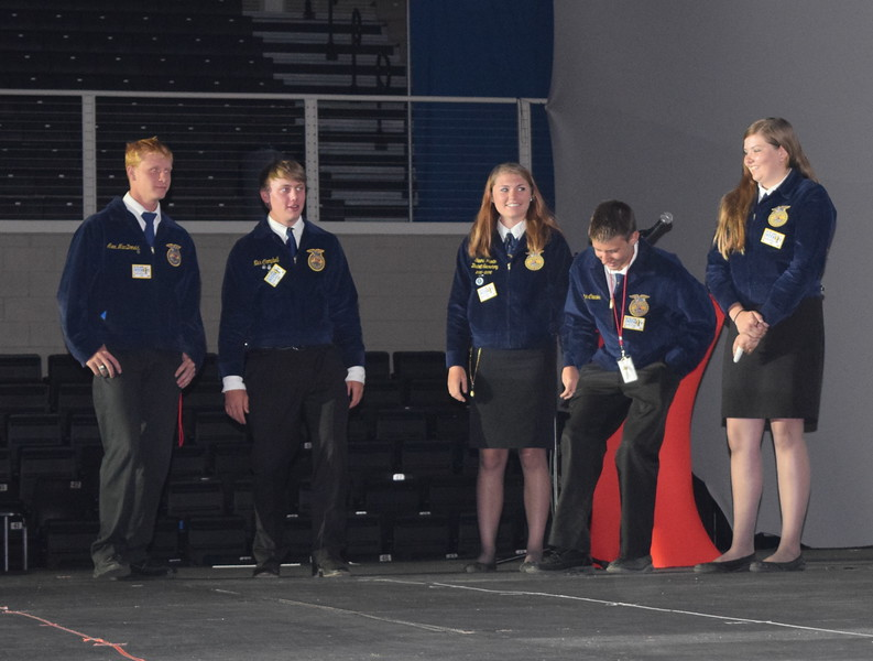 FFA members tap a song with their feet as others try to guess the song during a keynote event at the Colorado FFA State Convention Wednesday, June 8, 2016. The challenges participants faced in this activity were compared to the challenges FFA members may face when delivering their message about agriculture.