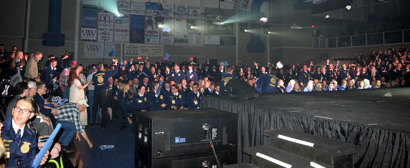 FFA members try to get some free stuff before the start of the fourth session at the Colorado FFA State Convention Wednesday, June 8, 2016.