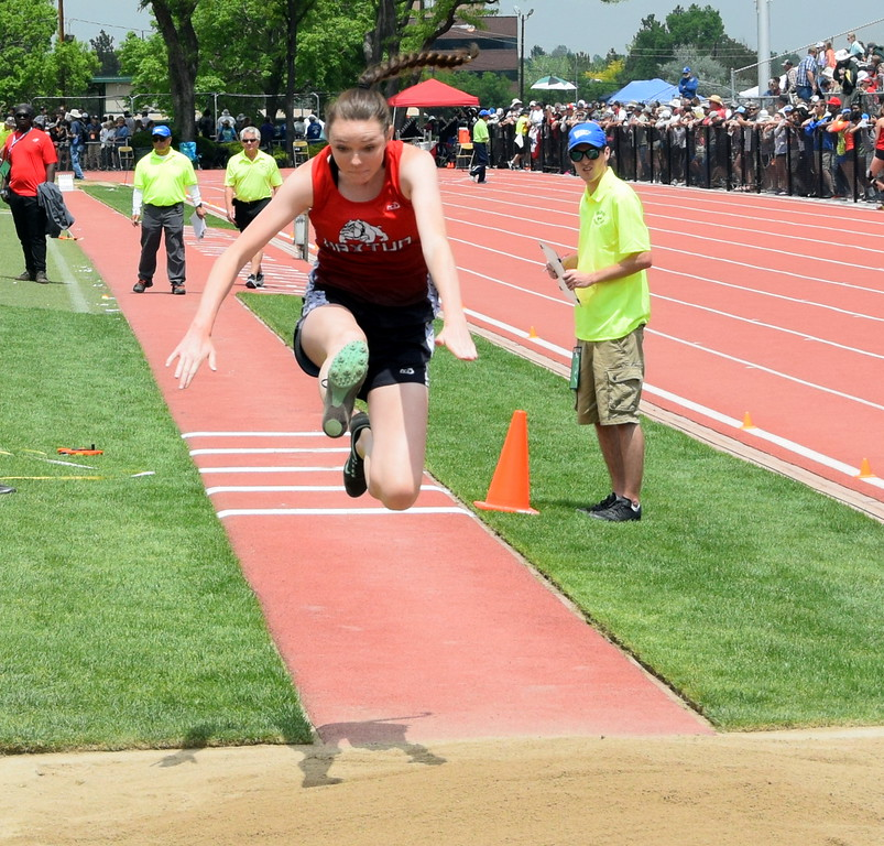 . Marissa Schelling of Haxtun High School goes up for an attempt in the triple jump at the state meet over the weekend in Lakewood. (photo by Kyle Inman)